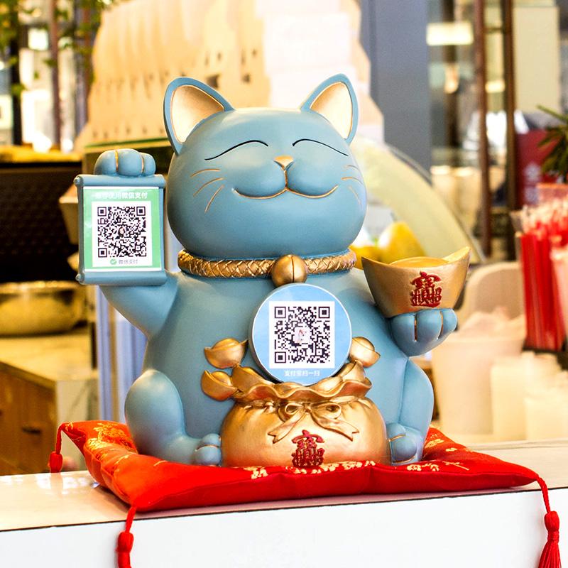 創意招き猫の置物オープンギフト二次元コードショップオープン実用的な大きいサイズのレジ装飾品