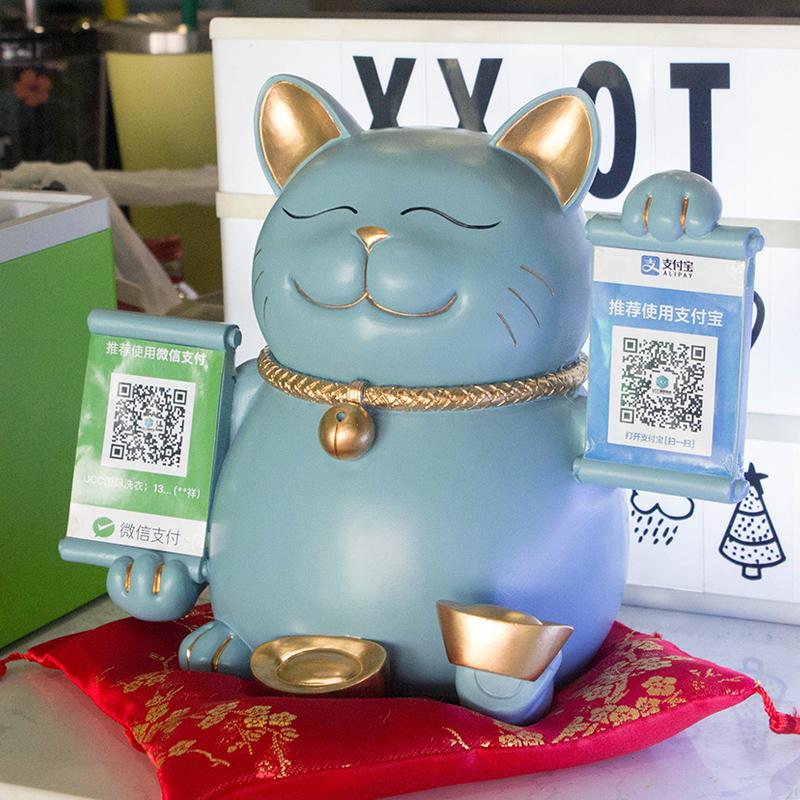 创意招财猫摆件送店铺开业礼品个性收银台装饰摆设免费定制收款码