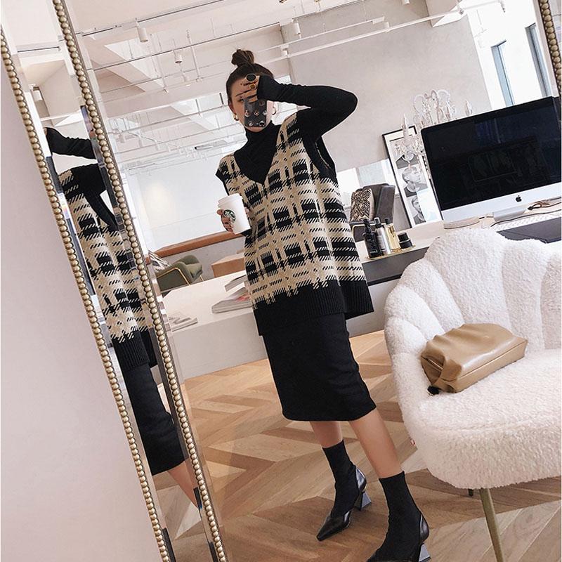 大码女装2020秋冬新款胖妹妹时髦减龄毛衣马甲裙显瘦洋气两件套装