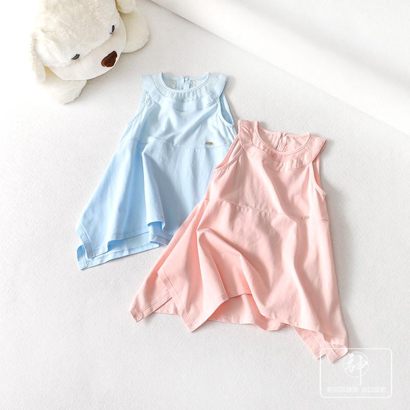 DGLT147 2018夏新款 纯色百搭舒适无袖不规则下摆女童宝宝连衣裙