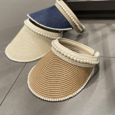 Korean version of ins simple straw woven pearl empty cap hat female spring and summer fashion wild sunshade capless headband