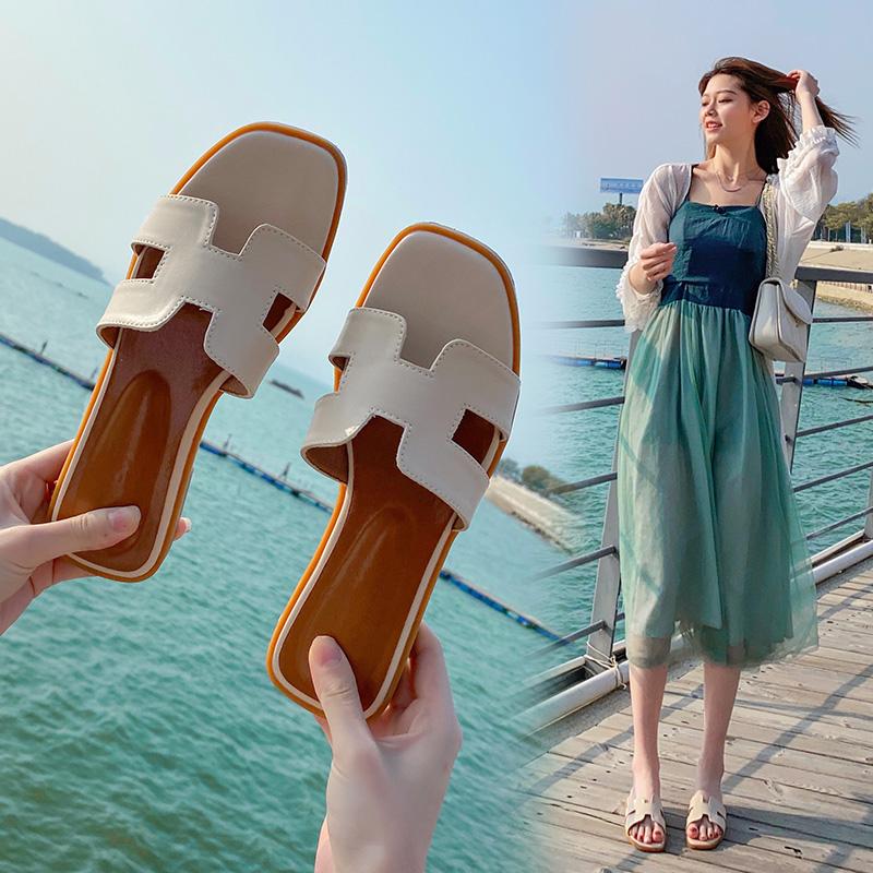真皮凉拖鞋女夏季外穿2021年新款超火平底网红时尚一字海边沙滩鞋
