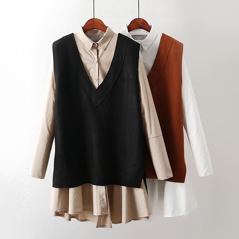 套�b裙�L袖打底�r衫裙��松中�L款背心裙�杉�套女秋季女�b裙G8D720