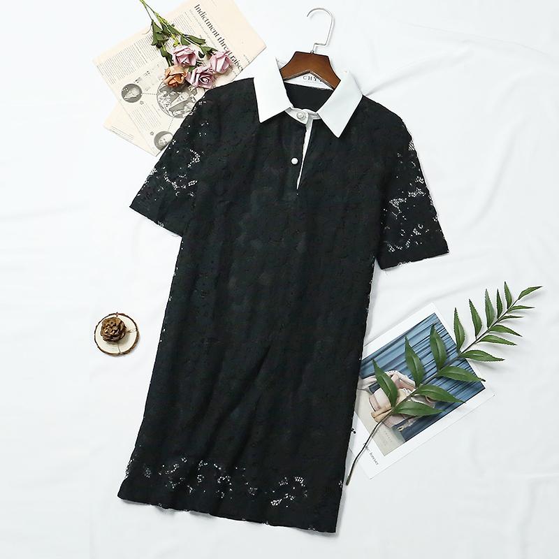 (用1元券)【亏本清仓】蕾丝珍珠扣夏季衬衫裙