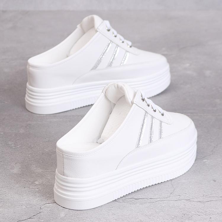 春夏8cm半拖女鞋韩版百搭镂空透气无后跟一脚蹬厚底内增高小白鞋