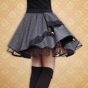 2020春民族风女装秋冬装复古毛呢百褶裙半身裙短裙蓬蓬裙