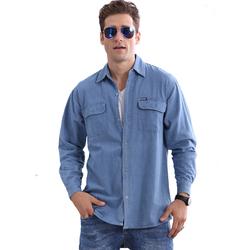 2020春装大码男仓储上衣长袖机修衬衫薄款牛仔外套休闲耐磨工作服