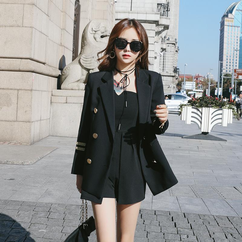 2018秋冬新款韩版时尚海军风刺绣黑色小西装外套女休闲小西服上衣