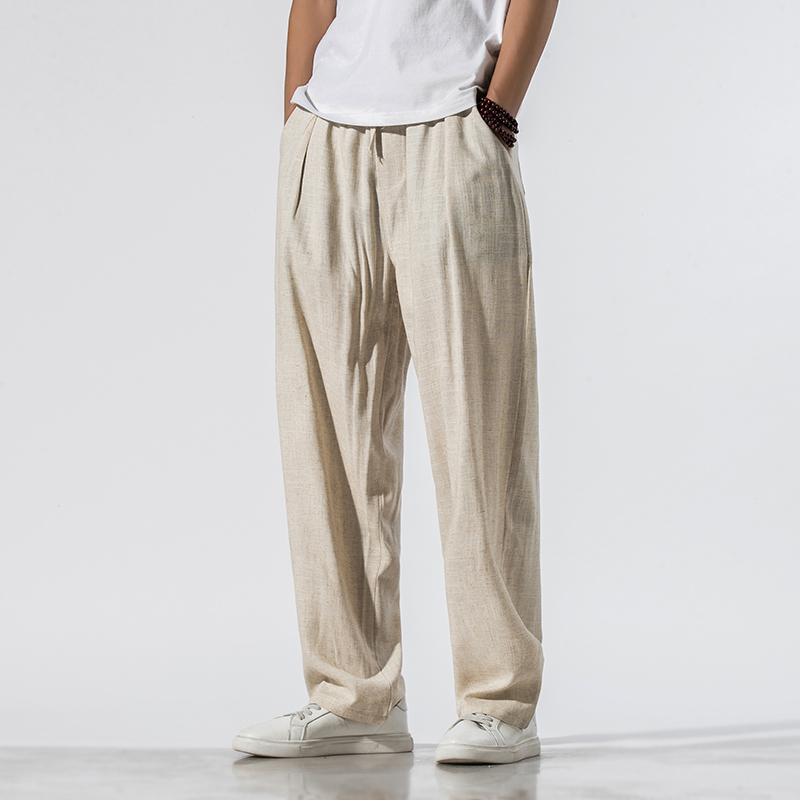 Summer thin cotton hemp straight bobbin pants Chinese Style Mens Linen casual pants qt6008-1-k71-p65
