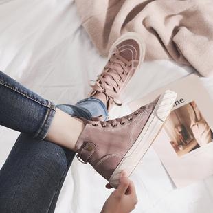 鞋子女2019新款帆布鞋百搭韩版高帮鞋单鞋山本鞋 网红 超火爆款
