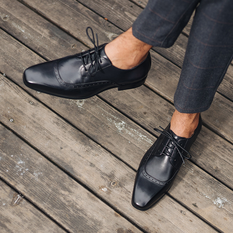 Erry hima Bullock mens shoes British square head Goodyear mens Oxford Shoes business dress carved leather shoes fashion shoes