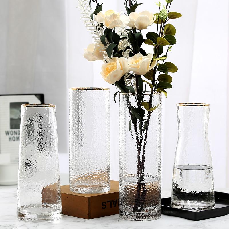 野兽派网红描金轻奢花瓶摆件玻璃美式客厅富贵竹透明鲜花瓶插花瓶25.9元