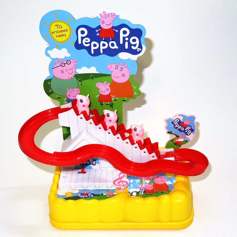 Childrens super Feixia electric music climbing stairs little yellow man little penguin pink pig Peggy slide toy