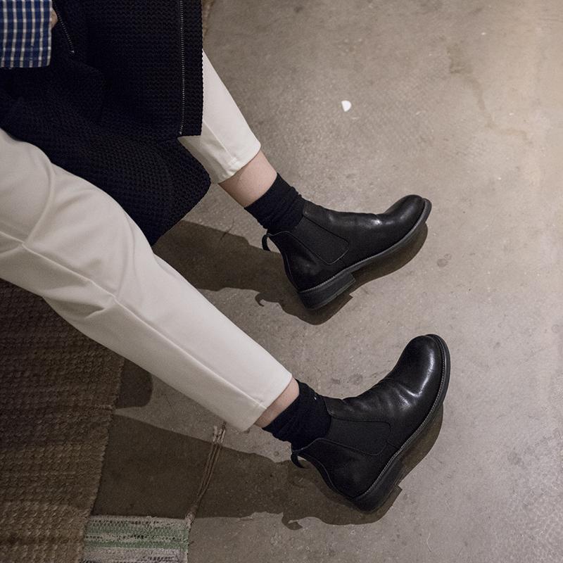 CANG P系列 gudi盐系风格中性原生牛皮手工马靴帅气百搭短靴女