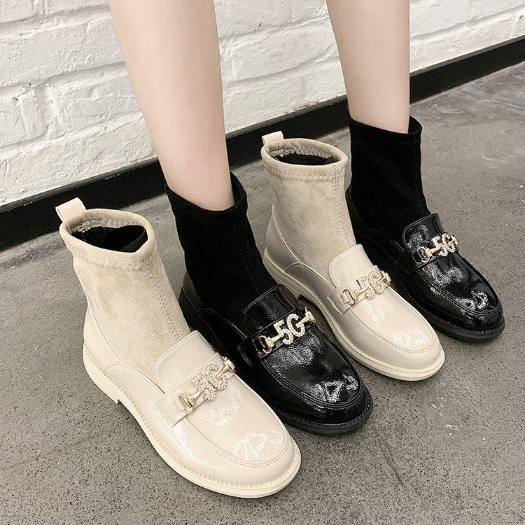 英伦风方头马丁靴女韩版漆皮弹力靴绒面机车靴平底休闲潮鞋短筒靴
