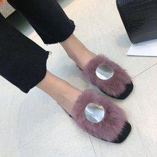 毛毛拖鞋女2018秋冬新款韩版百搭金属扣包头兔毛懒人休闲半拖鞋