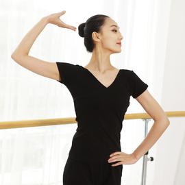 舞蹈上衣练功服V领 女短袖黑色成人舞蹈服棉形体舞衣交叉舞服修身