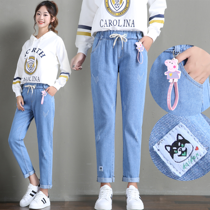 Spring and summer girls pants 11-14-16 years old Korean Jeans Girls junior high school students loose casual straight pants embroidery