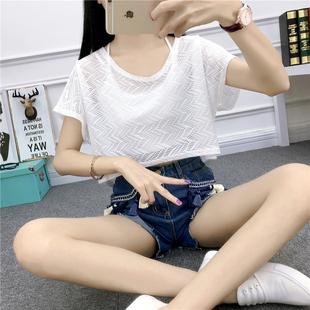 宽松短款罩衫夏比基尼外搭薄款t恤