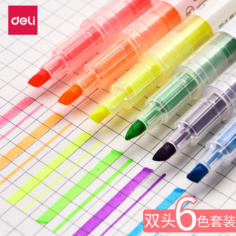 Overtime fluorescent marker brush marker artifact small fresh creative stationery take notes Yingguang pen silver light pen