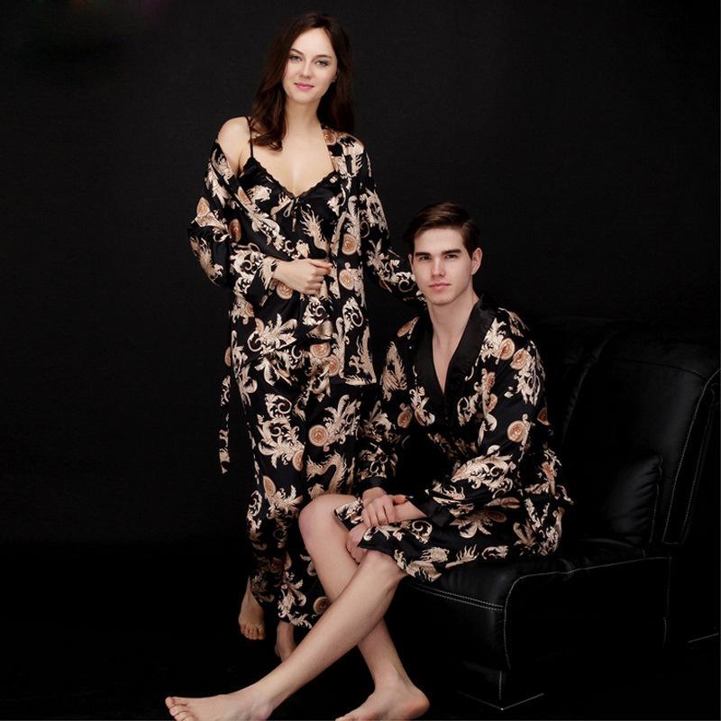 夕夕丝绸情侣睡衣女士夏季三件套装长袖男士睡袍浴袍家居服