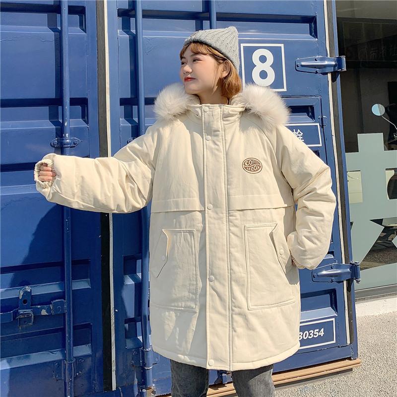 棉服女2019新款冬季外套韩版学生宽松bf大毛领棉袄加厚中长款棉衣