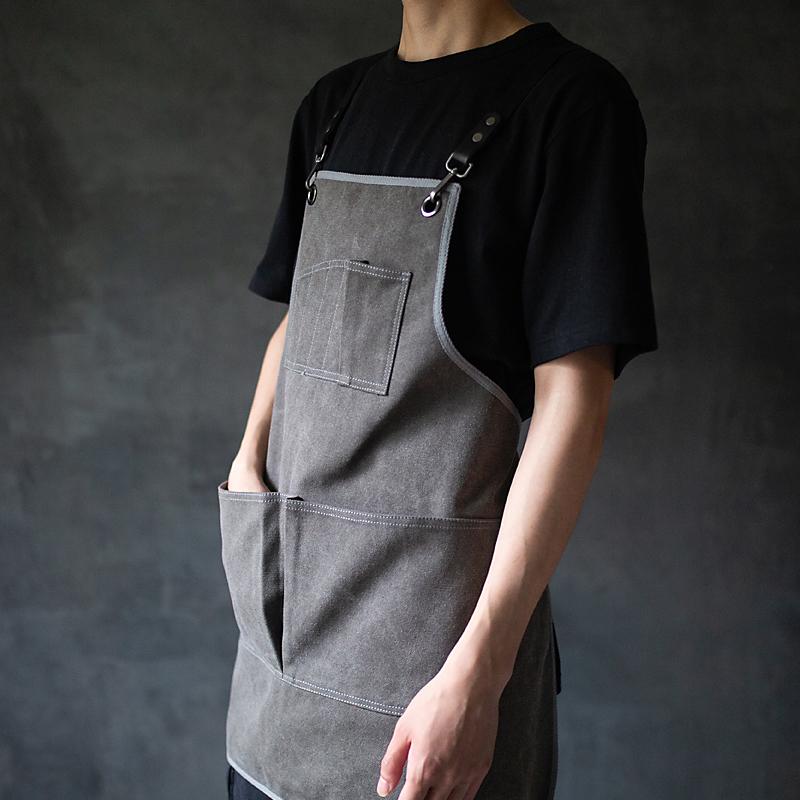 鹿造围裙/日式双肩咖啡店围裙定制logo理发画室匠人工作围裙男女