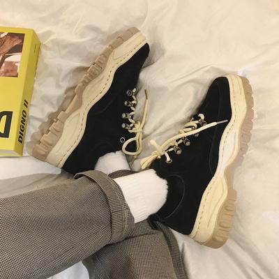 加绒复古增高网红百搭系带纯色保暖老爹鞋男鞋鞋子XC78-P65-控88