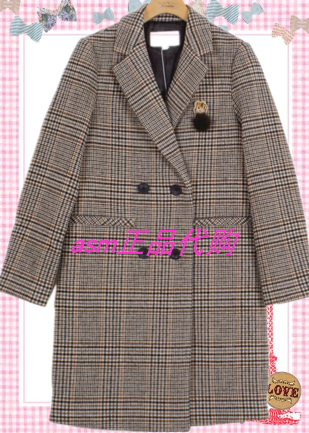 Teen bear store same 2019 winter Plaid suit collar medium long overcoat coat ttjw98903i