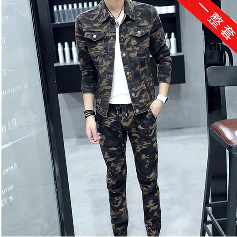 Autumn new denim suit mens casual youth camouflage jacket two piece tailored overalls trend Korean version