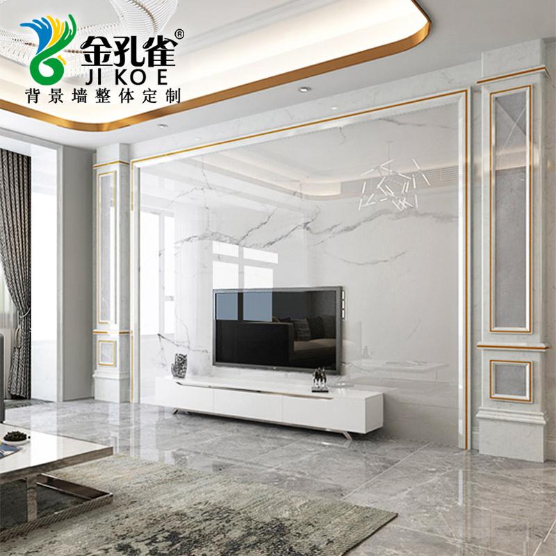 现代简约电视墙背景墙瓷砖微晶石客厅石材罗马柱影视墙大理石边框10-17新券