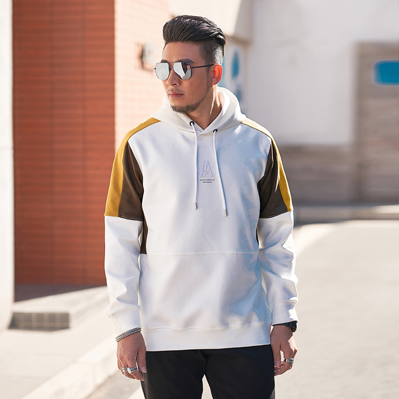 Fat brother sweater 2021 three color stitching mens youth Hoodie extra large Pullover fat sportswear long sleeve