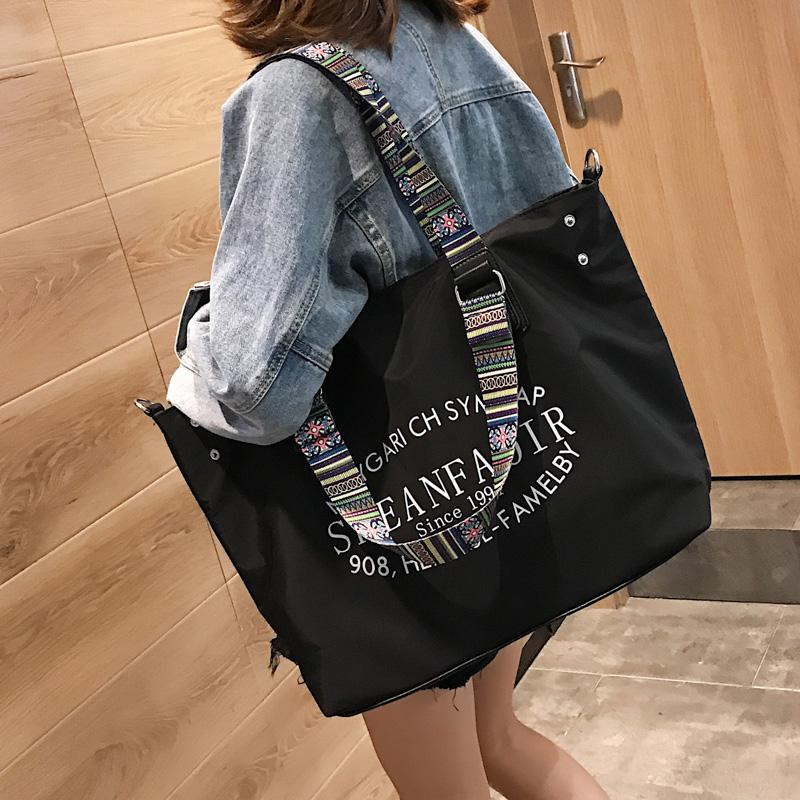 单肩包女大包帆布2019新款韩版防泼水尼龙布包大容量宽带斜挎包包