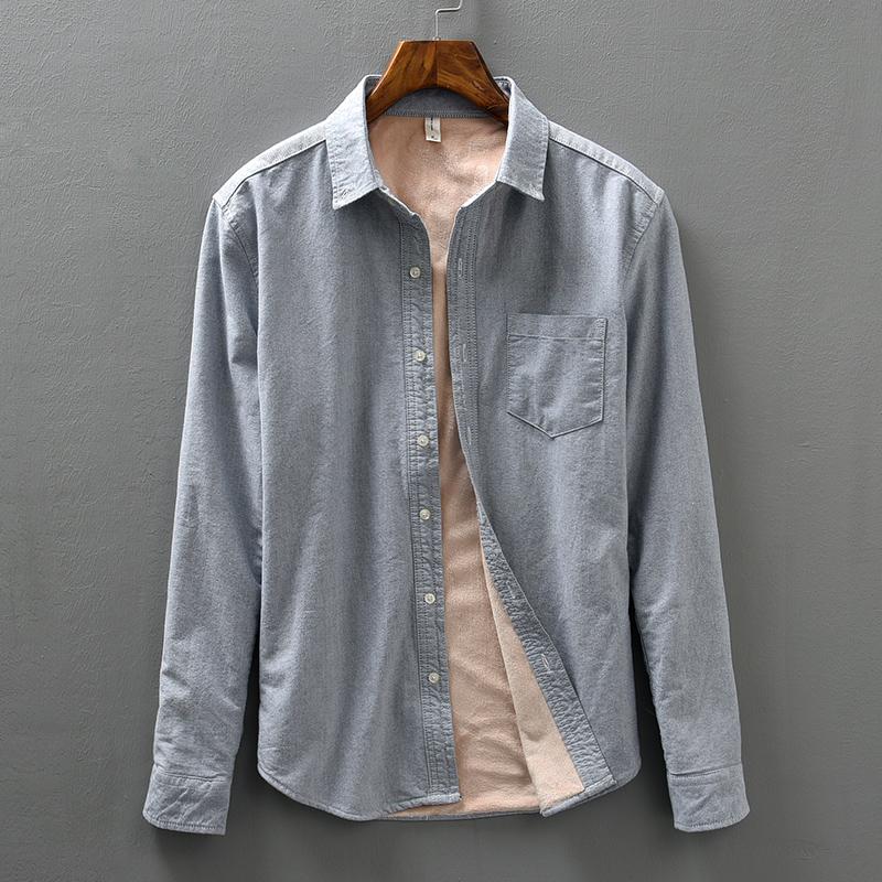 保暖衬衫男加绒加厚冬季新款打底纯棉长袖青年学生修身白色衬衣潮