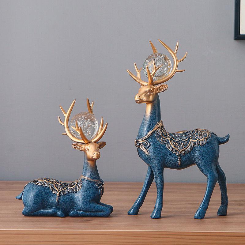 欧式电视柜装饰品小鹿摆件创意家里新房客厅家居摆设乔迁新居礼品
