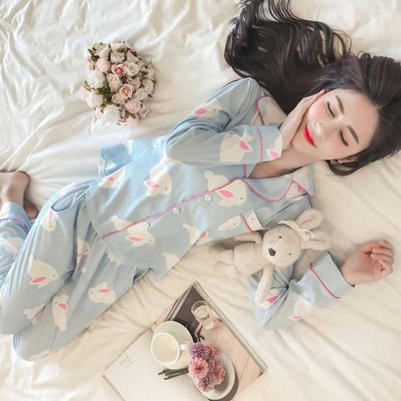 睡衣女春秋季薄款长袖韩版学生可爱夏季女士开衫家居服套装可外穿