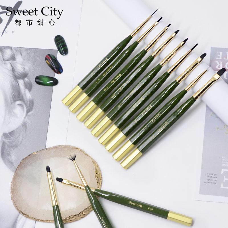 Sweet City日式日本彩绘胶画花勾线拉线晕染美甲笔刷套装全套工具