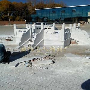 曲阳石雕精品现代手工艺石栏杆汉白玉升旗台护栏户外广场装饰摆件