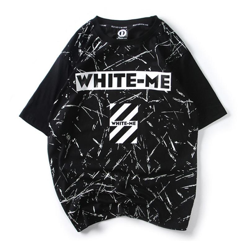 HF17夏季新款��墨短袖潮�n版日系�W生男��松加肥加大�a潮半袖T恤'