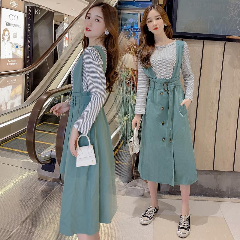 實拍視頻2019秋季新款韓版時尚高腰雙排扣甜美氣質收腰套裝連衣裙