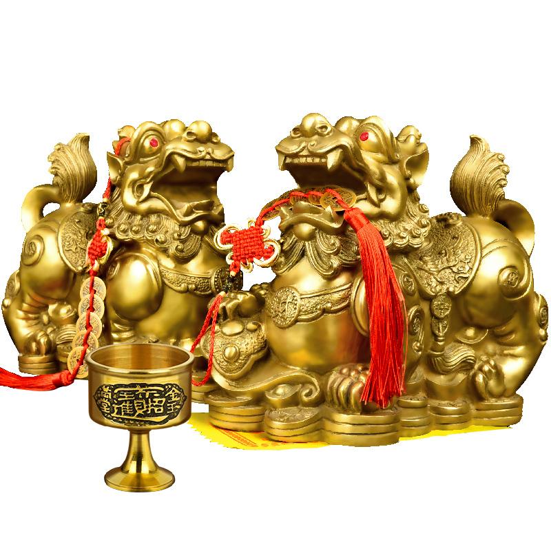 铜貔貅招财摆件纯铜开光貔恘一对皮丘聚财客厅玄关风水装饰办公桌