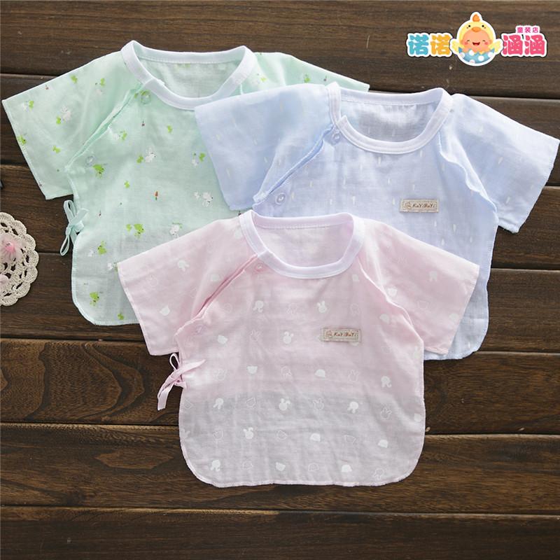 新生儿夏季衣服夏天薄款0-3个月1初生婴儿纯棉纱布和尚服半袖上衣
