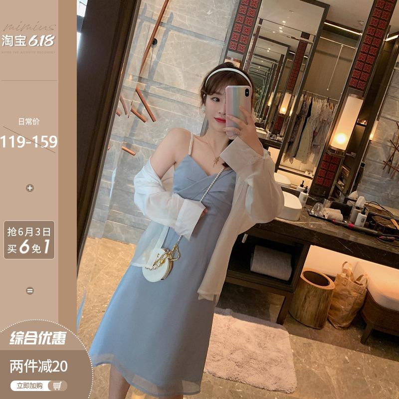 v领吊带连衣裙女夏季法式白色衬衫防晒衣气质女神范套装两件套