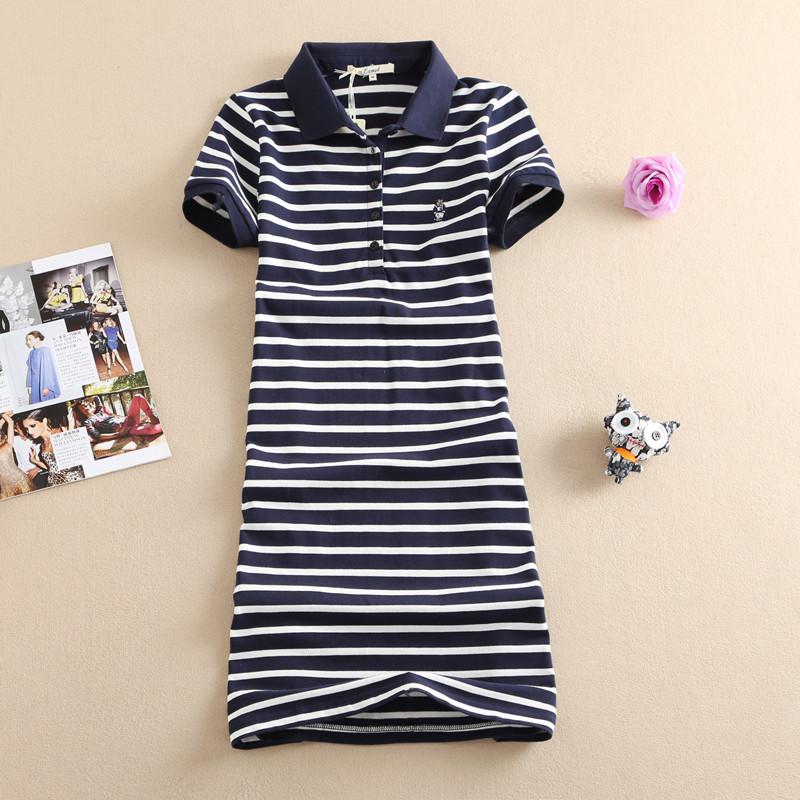 夏季POLO裙短袖小熊连衣裙修身中长款条纹休闲裙韩版保罗裙A字裙