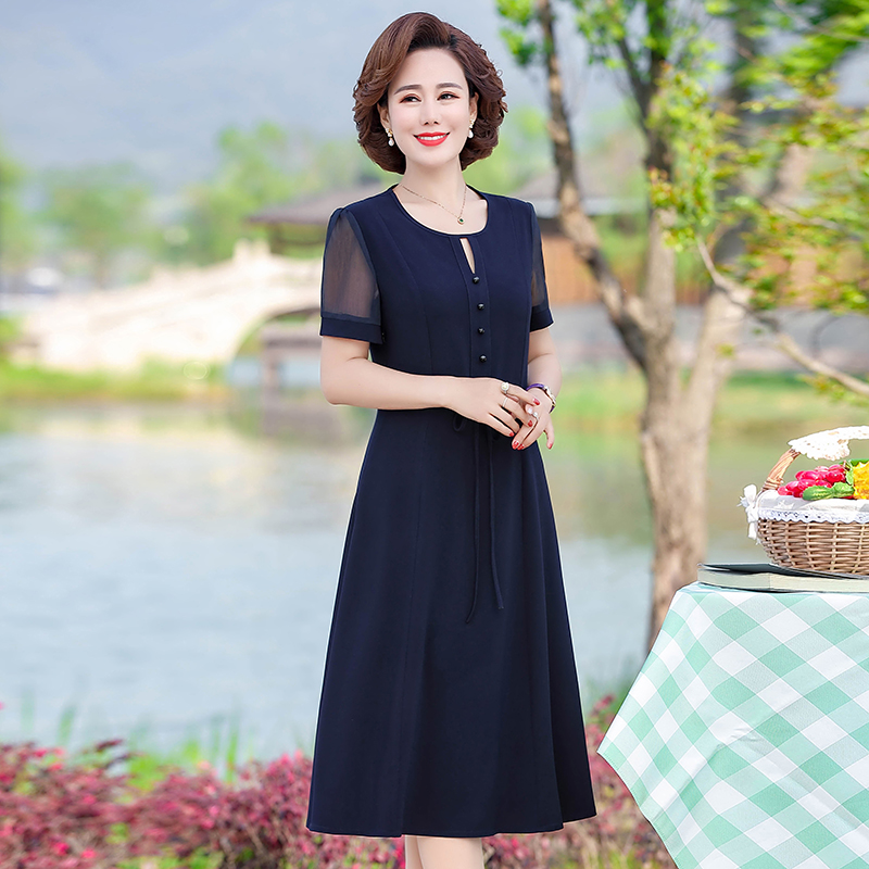 New middle aged lady mother foreign Chiffon Dress summer middle aged and old womens Knee Skirt noble temperament
