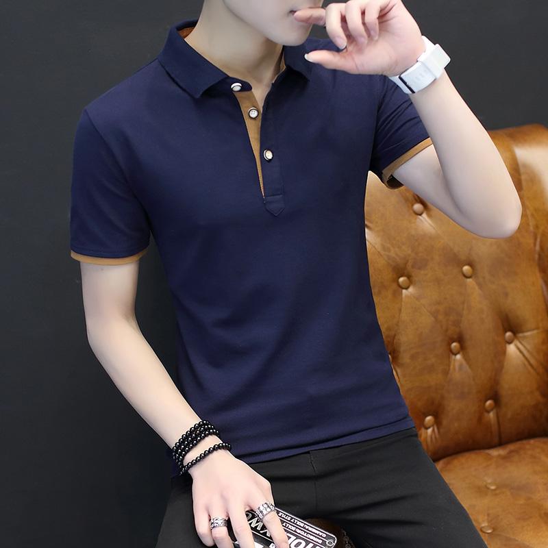 Mens short sleeve T-shirt summer Lapel solid color polo shirt mens summer half sleeve T-shirt with tie collar