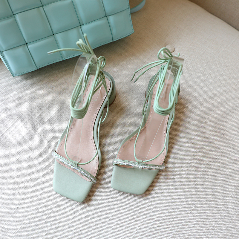 2020 Korean Edition leather square head middle heel sandals ankle strap sexy womens shoes simple and versatile size shoes
