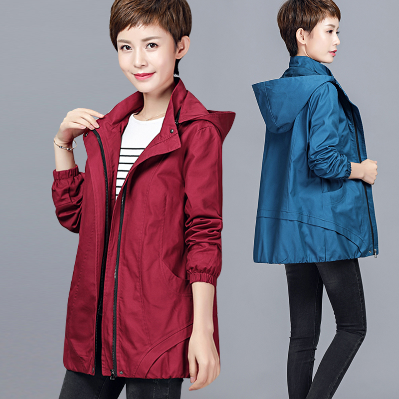 Spring and autumn mid long cardigan large windbreaker 2018 new moms cotton detachable hat jacket jacket for women