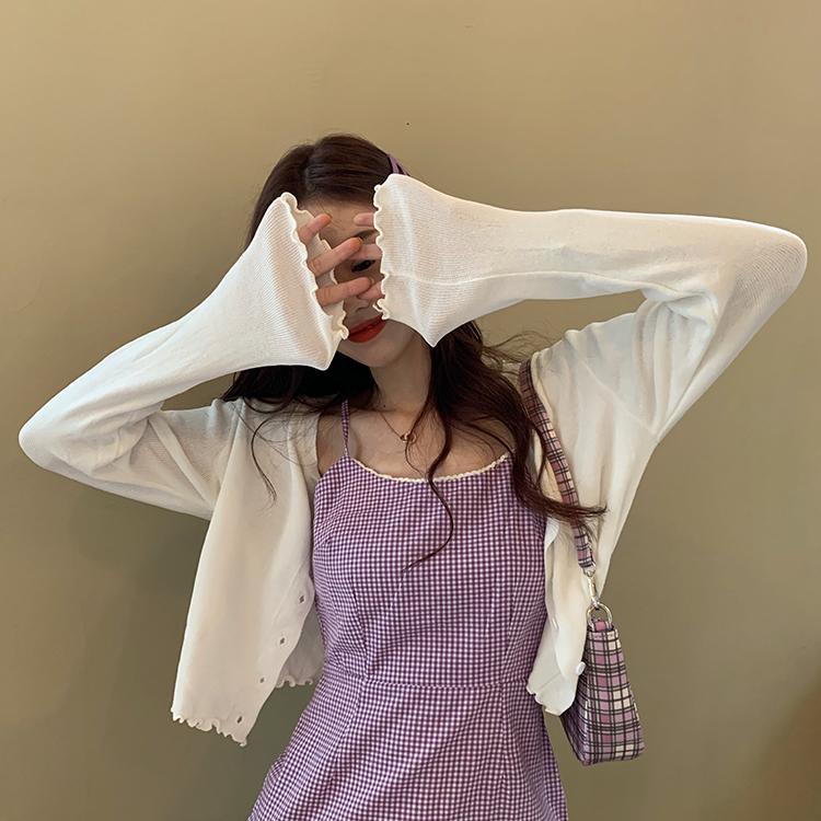 大码胖mm针织开衫女春夏季2021薄款防晒披肩外套上衣bm空调衫外搭