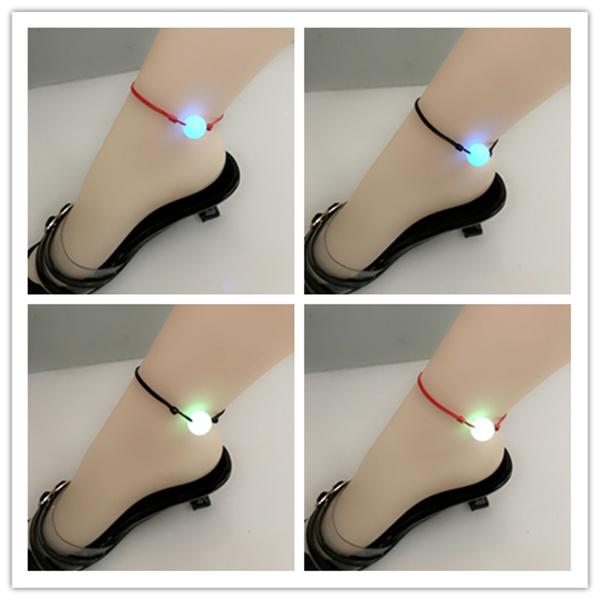 Luminous Gem Anklet original home simple cool wind male and female lovers luminous bead foot rope student string bead foot ring Ankle Bracelet